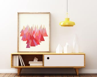 Mountain Print, Abstract Landscape Art, Geometric Print - Indian Summer