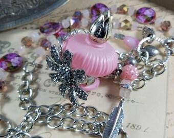 Perfume Bottle Assemblage Pendant Necklace