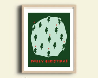 Merry Christmas print, printable merry christmas sign, holiday art print, christmas decor prints, green and red christmas