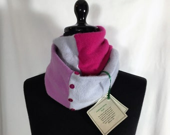 Infinity Cashmere Wool Scarf made from upcycled purple and pink sweaters