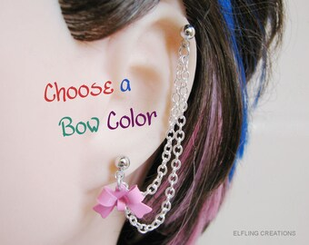 Bow Earring with a Cartilage Chain, Bajoran Earring, Double Piercing or Ear Cuff - Pick Your Color