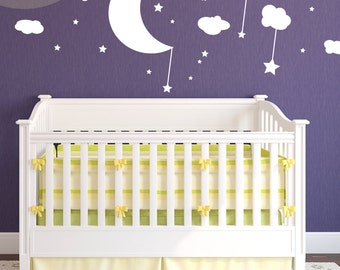 Moon, Clouds, and Stars - Vinyl Wall Decal