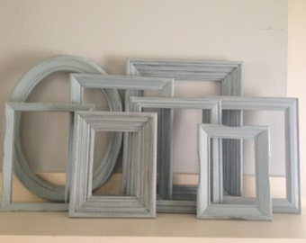 Serene Light Blue Picture Frames, Shabby Chic Distressed Set