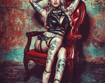 Pagan Moon 666 666 vegan black leather necklace