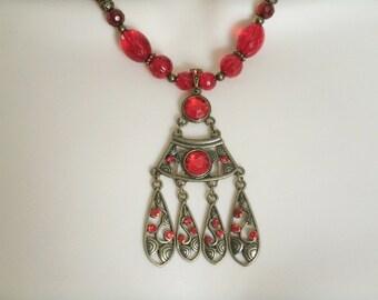 Red Necklace, boho jewelry bohemian jewelry gypsy jewelry hippie necklace moroccan jewelry gypsy necklace bohemian necklace boho necklace