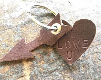 Keychain - Leather Heart and Arrow