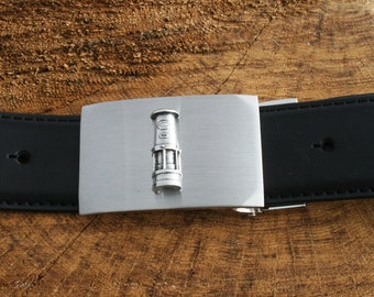 Davy Lamp Black Leather Belt and Metal Buckle Set Miners Gift