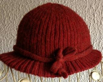 Hippie-boho SALE!!! Mütze Hut cap Wolle  vintage 70's designer bordeaux retro hat vintage art and crafts