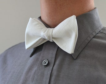 Men's Bow Tie in White Stripe- gray freestyle wedding groomsmen custom bowtie neck self tie dove striped white tie