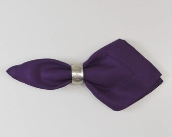 22x22 Dinner Hemstitch Linen Napkins-sold by the dozen Color Eggplant