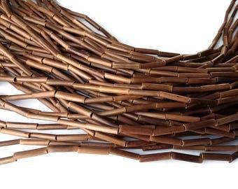Perles tubes de bois de bambou de 15mm