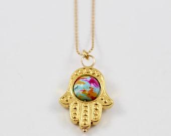 Hamsa Hand gold filled chain