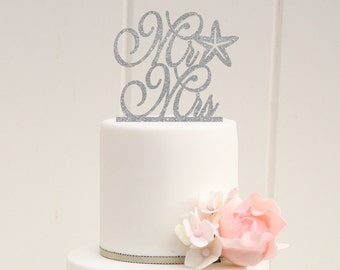 Starfish Wedding Cake Topper - Glitter Cake Topper - Beach Wedding Cake Topper