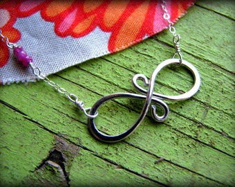 Eternal Love & Birthstone Necklace - Infinity Symbol Sterling Silver - Gift Birthday Sisters Daughter Wife Fiancee 40th 45th 50th 55th 60th
