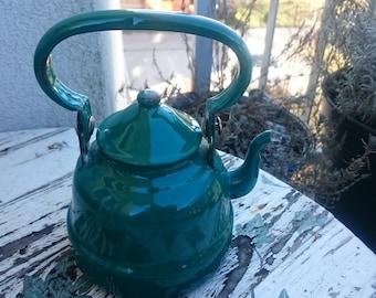 Vintage Enamel Tea Kettle, Green Enamel teapot from Yugoslavia
