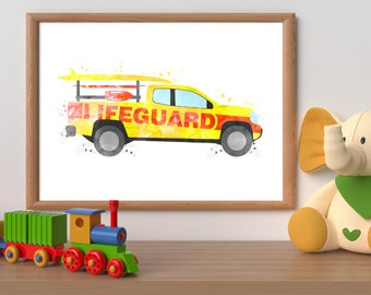 Lifeguard truck watercolor print, pick up truck printable, rescue truck wall art, rescue vehicle print, beach wall art, boy bedroom wall art