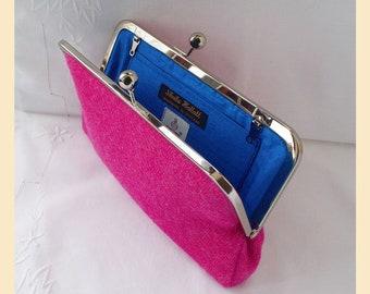 Harris Tweed bag, pink clutch, Harris Tweed pink purse, tweed purse with cobalt blue silk lining, personalised handbag, winter wedding
