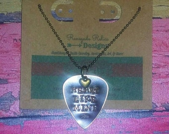 "Rustic Distressed Hand stamped Guitar Pick Necklace- Miranda Lambert's lyrics, ""Heart Like Mine"""
