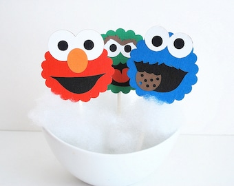 Sesame Street Cupcake Toppers, 12, rue Sésame inspiré Cupcake Toppers, Cookie Monster, Elmo et Oscar A608