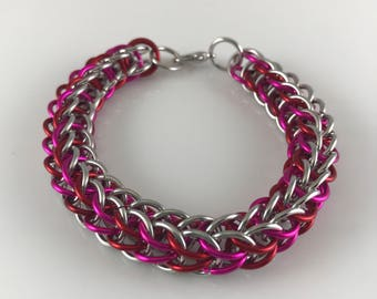 Pink Red and Silver Full Persian Chainmaille Bracelet