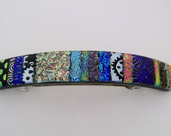 Large dichroic glass barrette. Glass hair clip. Barrette. Dichroic.