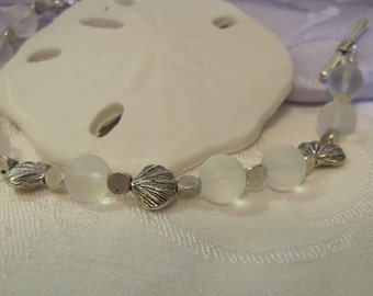 Sea glass and shells bracelet ~ white/clear