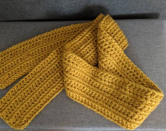 Yellow Crochet Cable Scarf