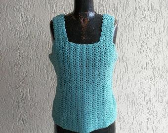 Hand crochet green top