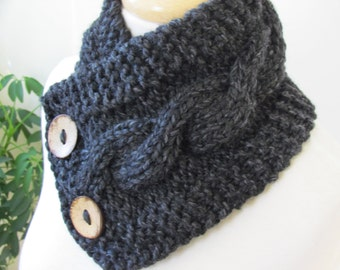 """Knit Neck Warmer, Cable Knit Scarf,  Chunky Warm Winter Scarf in Charcoal 6"""" x 25"""" - Coconut Shell Buttons Ready to Ship - Direct Checkout"""