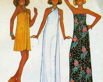 Vintage 70s McCalls 5542 UNCUT Wrap Maxi Dress, Swimsuits and Coverup Sewing Pattern