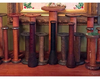 Lot Vintage Textile Spools, Thread Bobbins, Primitive Spindles, Industrial Antique Wood Spools, Candlestick Holders, shabby chic
