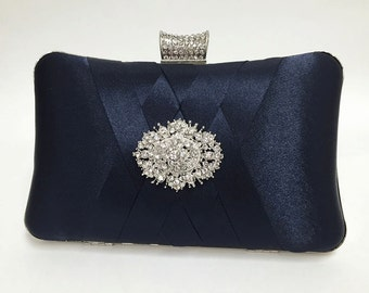 wedding clutch, formal clutch, Navy blue clutch, evening bag, bridesmaid clutch, bridesmaid bag, crystal clutch, evening clutch