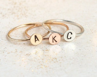 initial ring. personalized ring. ROSE, SILVER, or GOLD. one personalized stack ring. gift for her. stackable mothers ring. mothers day gift.
