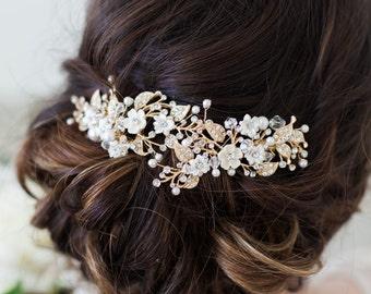 Wedding Hair Accessories, Bridal Headpiece, Gold Flower Headpiece, Flower Hair Clip, Flower Headpiece, Bridal Accessories, Gold Hair Clip,
