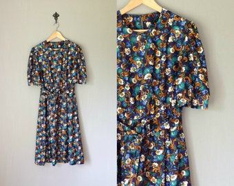Vintage HANDMADE Dress • 1970s Clothing • Midi Calf Length Short Sleeve Shirtdress 70s Belted Navy Blue Floral Print •Women Extra Large
