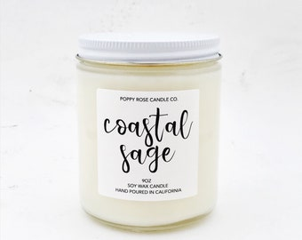 Coastal Sage. Springtime Candle. Scented Candles. Soy Candles. Scented Candle. Soy Candle. Earthy Candle. Wholesale Candles.