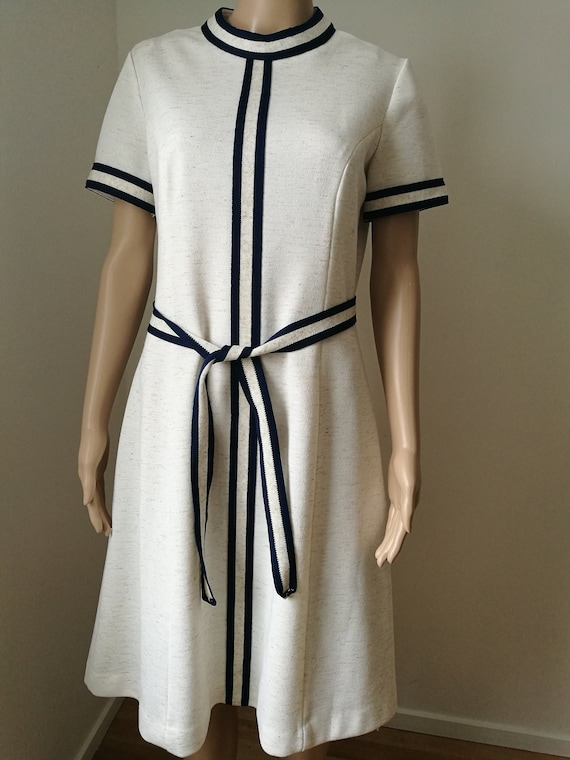 Vintage mod 60's Puritan Forever Young offwhite melange and blue scooter a-line dress mock neck matching belt size M-L