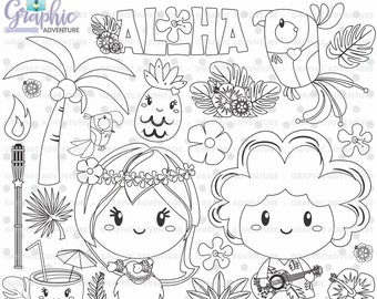 Hawaiian Stamps, Digital Stamp, Hawaiian Coloring Page, COMMERCIAL USE, Hawaiian Digistamp, Hula Girl Stamps, Hula Stamps, Summer