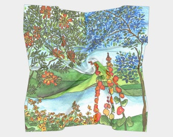 Floral Scarf -  Blue Flowers ~  chiffon,  charmeuse - accessories, watercolor garden, scenic  scarves, shawl, cover-up