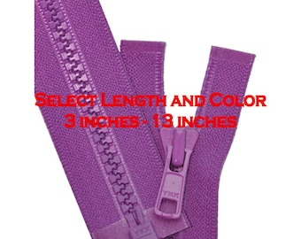 3 inch to 13 inch Vislon Jacket Zipper YKK 5 Molded Plastic Medium Weight  Separating - Select Length and Color