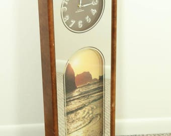 vintage 1970s kitsch 34 mirrored wall clock with beach scene tacky cool unique - Mirrored Wall Clock