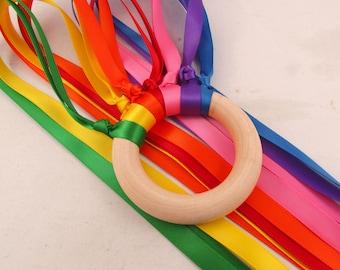 Rainbow Ribbon Wood Hand Kite - Rainbow Waldorf Wind Wand - Easter Basket toy
