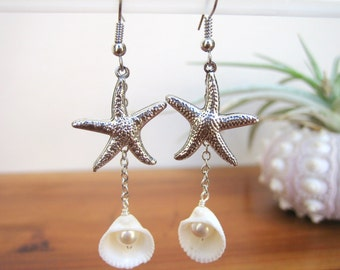 Starfish and Seashell Earrings, Starfish Charm Earrings, Seashell Earrings, Beach Jewelry, Seashell Jewelry