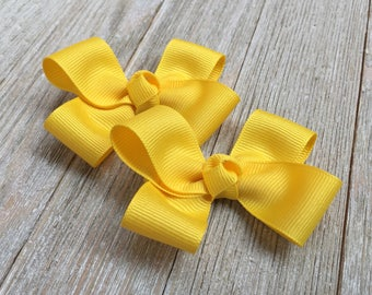 Yellow Hair Bows,Pigtail Hair Bows,3 Inch Wide  Hair Bows,Alligator Clips,Birthday Party Favors