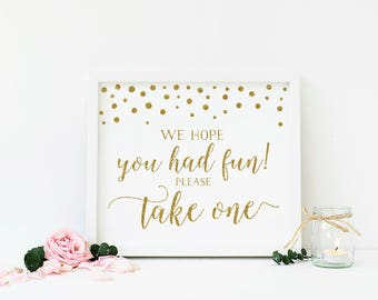 We Hope You Had Fun Please Take One , Gold Baby Shower Decorations , Treat Sign , Thank You Sign , Favor Sign , Printable , Download - CG1