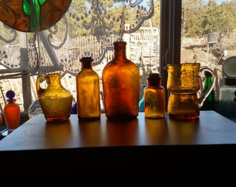 Five Amber Glass Vintage Containers