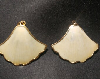 Vintage gold edged Scallop Shells pendants. 1060452