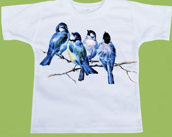 Bluebirds on a branch, Blue Birds, One Piece Baby, Infant T-Shirt, Childrens clothes, Graphic tees, by ChiTownBoutique.etsy