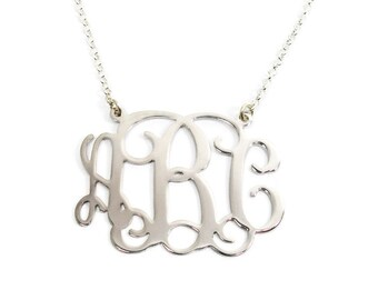 """Monogram Necklace 1"""". Personalized Sterling silver 925 necklace. Personalized jewelry. Monogram jewelry. Silver initial necklace. Gift ideas"""