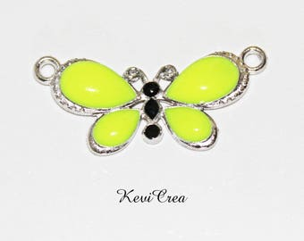 Yellow enameled silver Butterfly connector